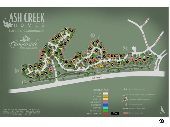 Canyonside Sold Lot Map