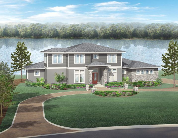Transitional Style Lakefront Home:Located on Lake Politz, this two-story estate home is designed with a transitional architectural style.