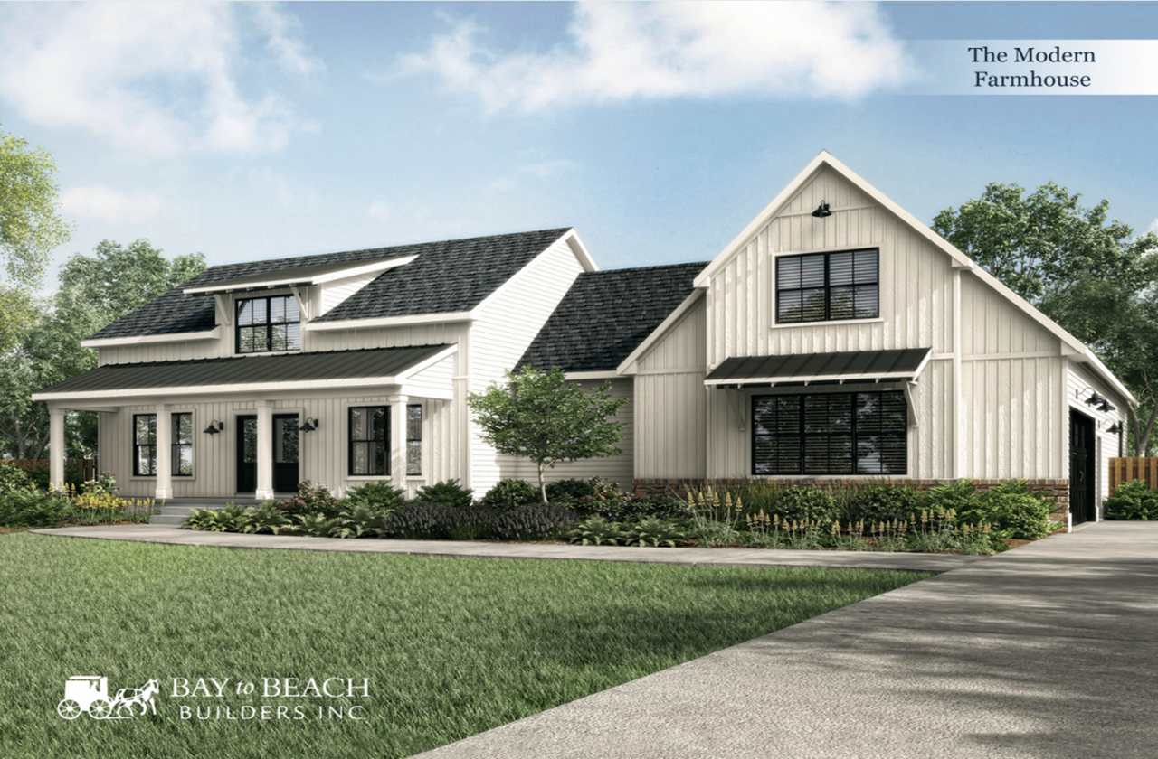 The Modern Farmhouse Home Plan By Bay To Beach Builders Inc In All Floorplans