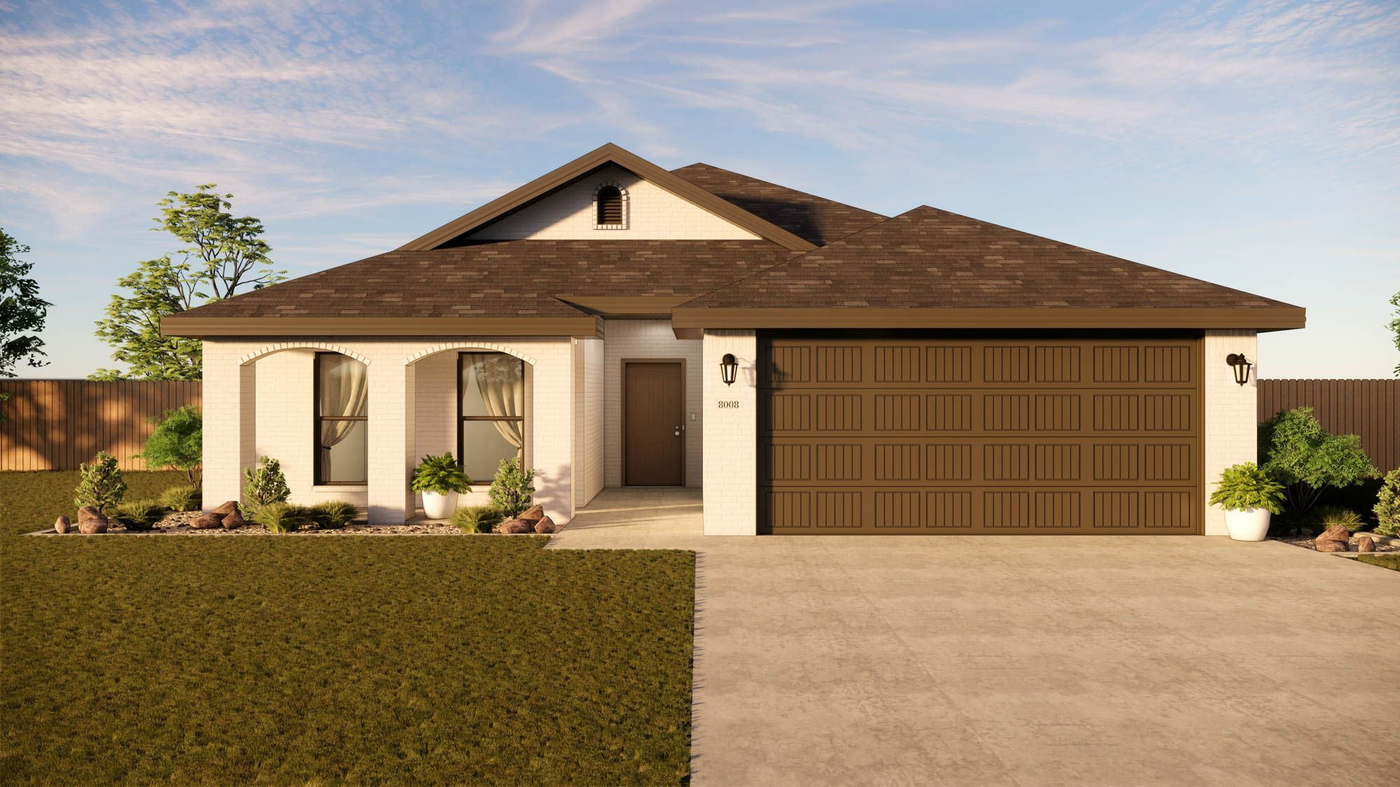 Exterior featured in the Marybel By Betenbough Homes in Lubbock, TX