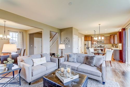 Greatroom-and-Dining-in-The Hallmark, Plan 2050-at-Hunter Oaks-in-Watertown