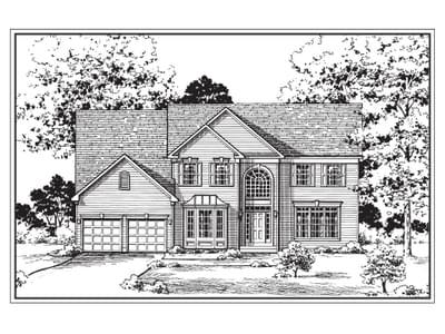 Oxford:Standard Elevation with Optional Bay Window