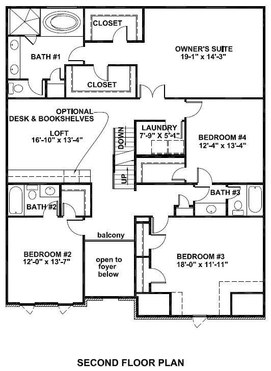 Brookstone II Standard Second Floor Plan