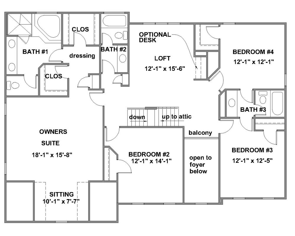 Creeksted standard second floor plan