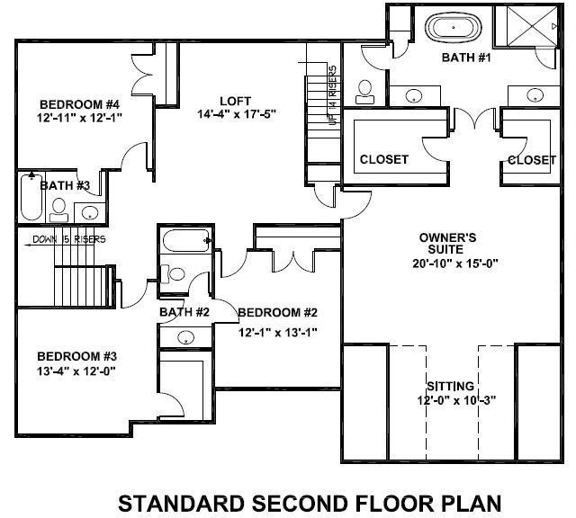 Waterhaven standard second floor plan