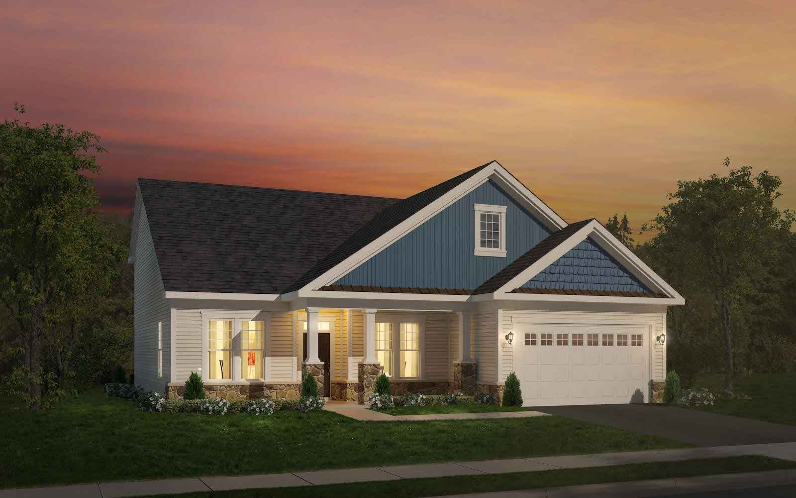 Exterior:Elevation 2 of the Pearson a home design at Easton Village by Brookfield Residential
