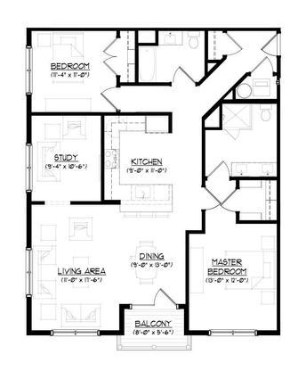 The Butterfield B :Floor plan