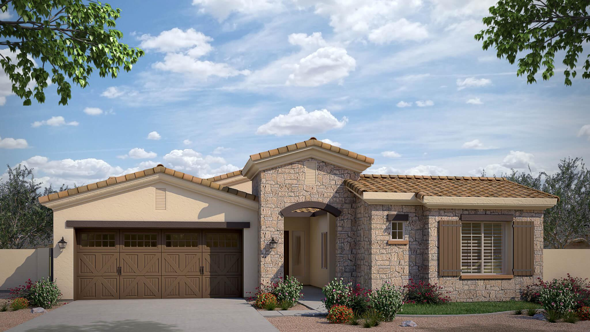Exterior featured in the Union Park Plan 3 By Cachet Homes in Phoenix-Mesa, AZ