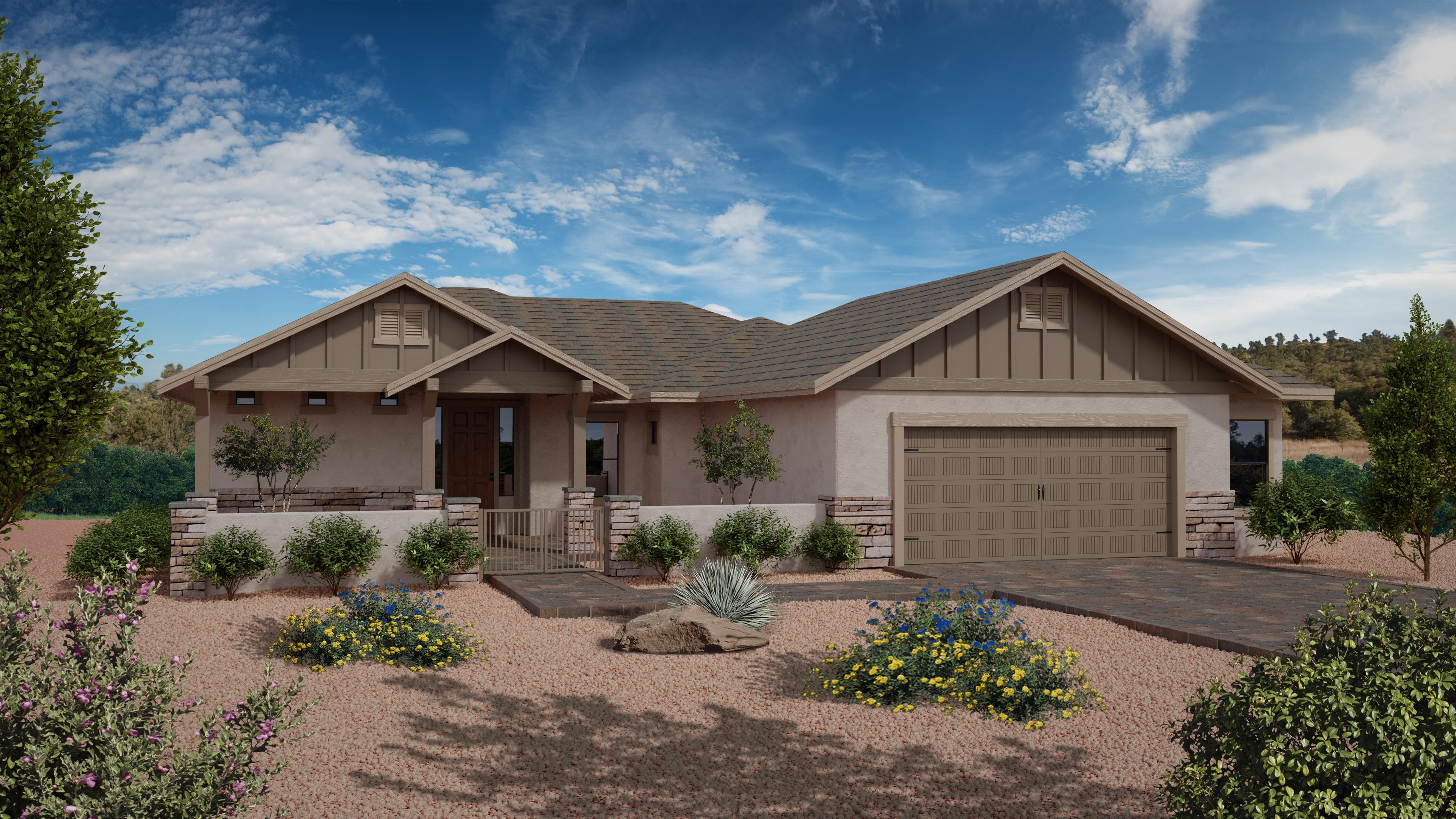 Exterior featured in the Featured Plan 2460 By Capstone Homes in Prescott, AZ