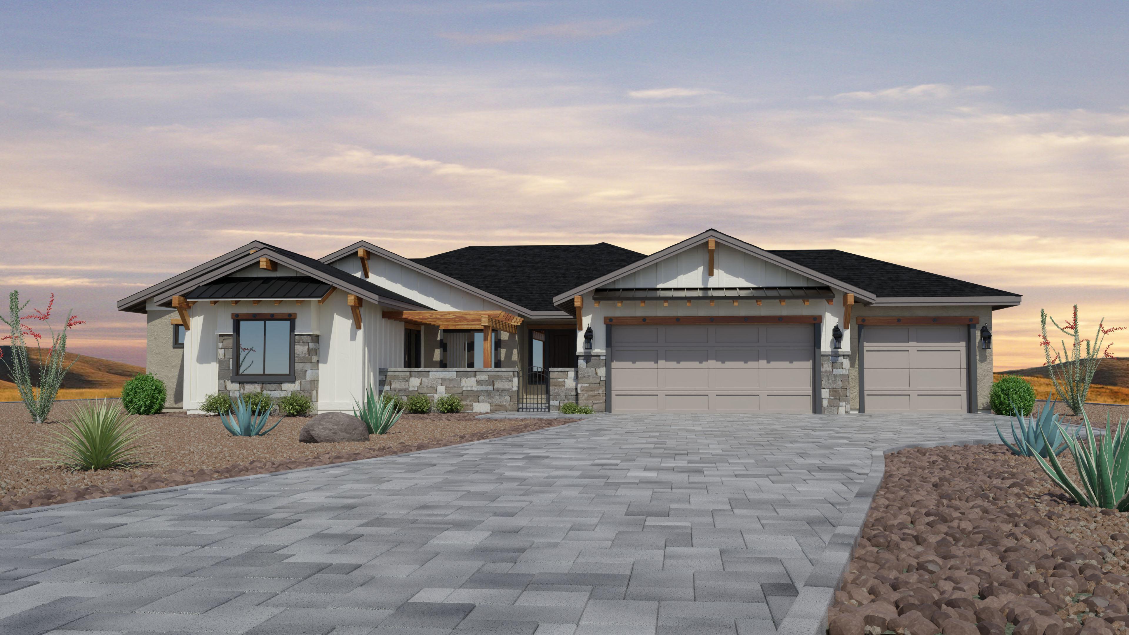Exterior featured in the Jasper Featured Plan 3020 By Capstone Homes in Prescott, AZ