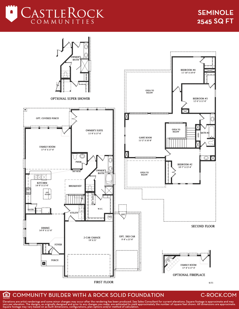 Seminole silver home plan by castlerock communities in for Build on your lot houston floor plans