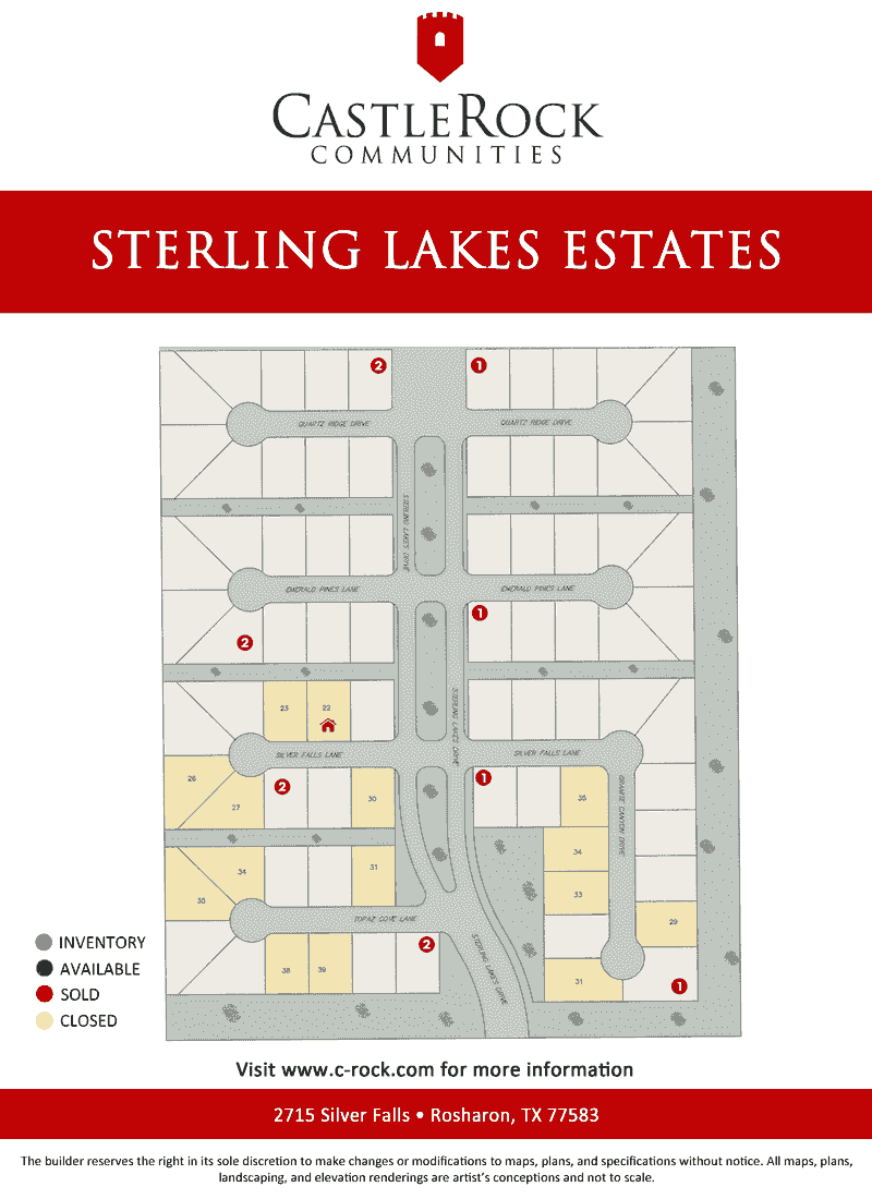 Sterling Lakes Section 20 Lot Map