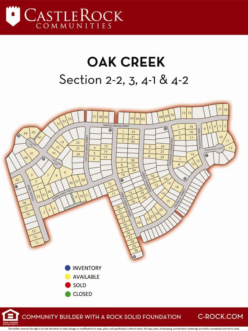 Oak Creek Lot Map