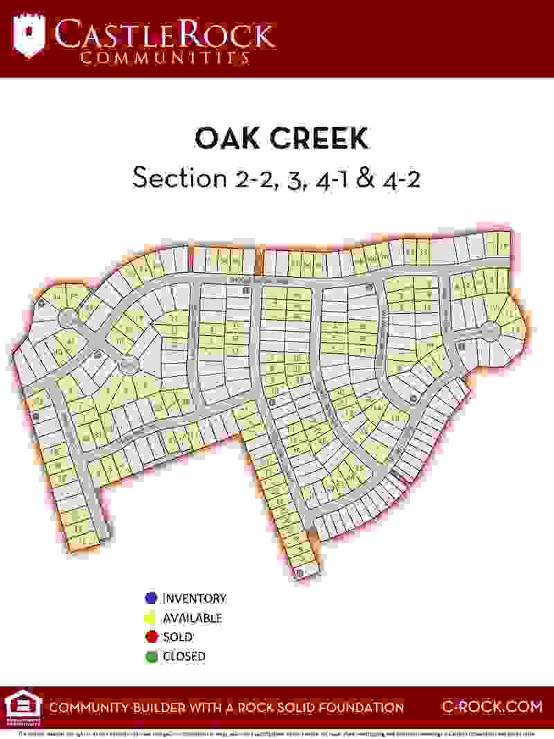 Oak Creek Lot Map