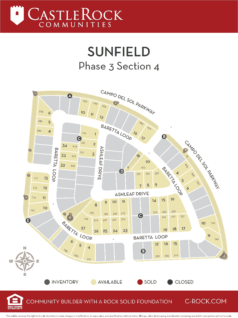 Sunfield Phase 3 Section 4 Lot Map