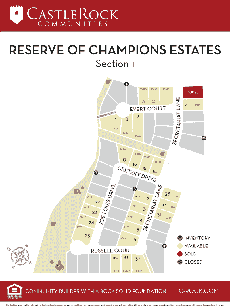 Reserve of Champions Estates Lot Map