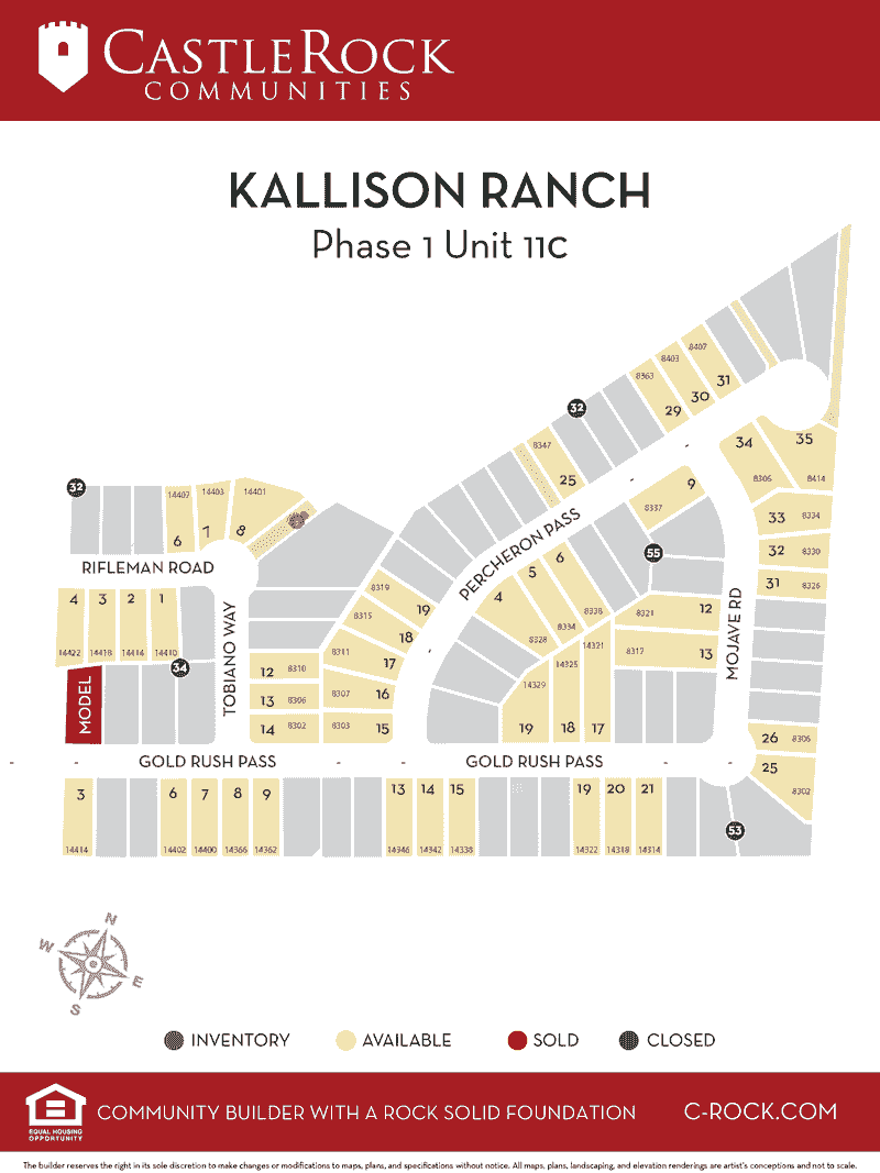 Kallison Ranch Phase 1 Unit 11 Lot Map