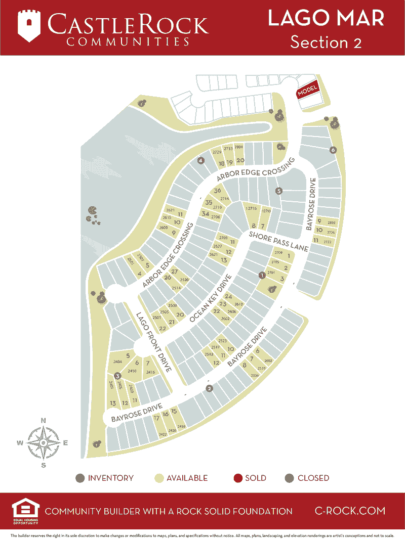 Lago Mar Section 2 Lot Map