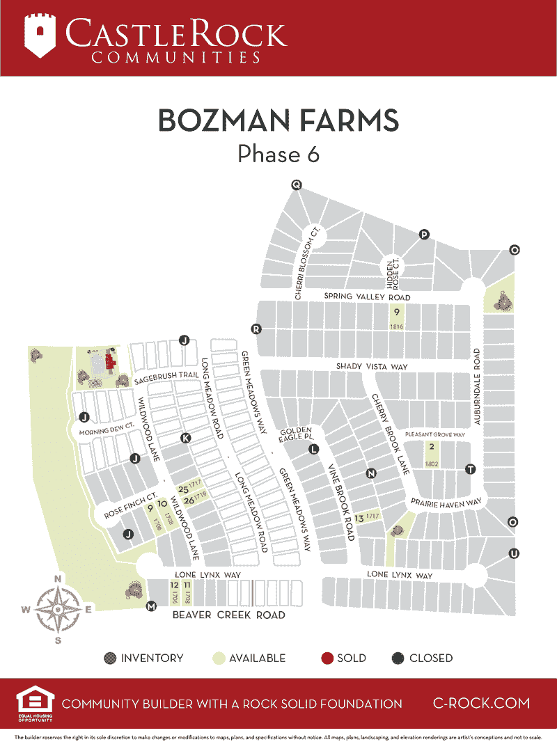 Bozman Farms Phase 6 Lot Map