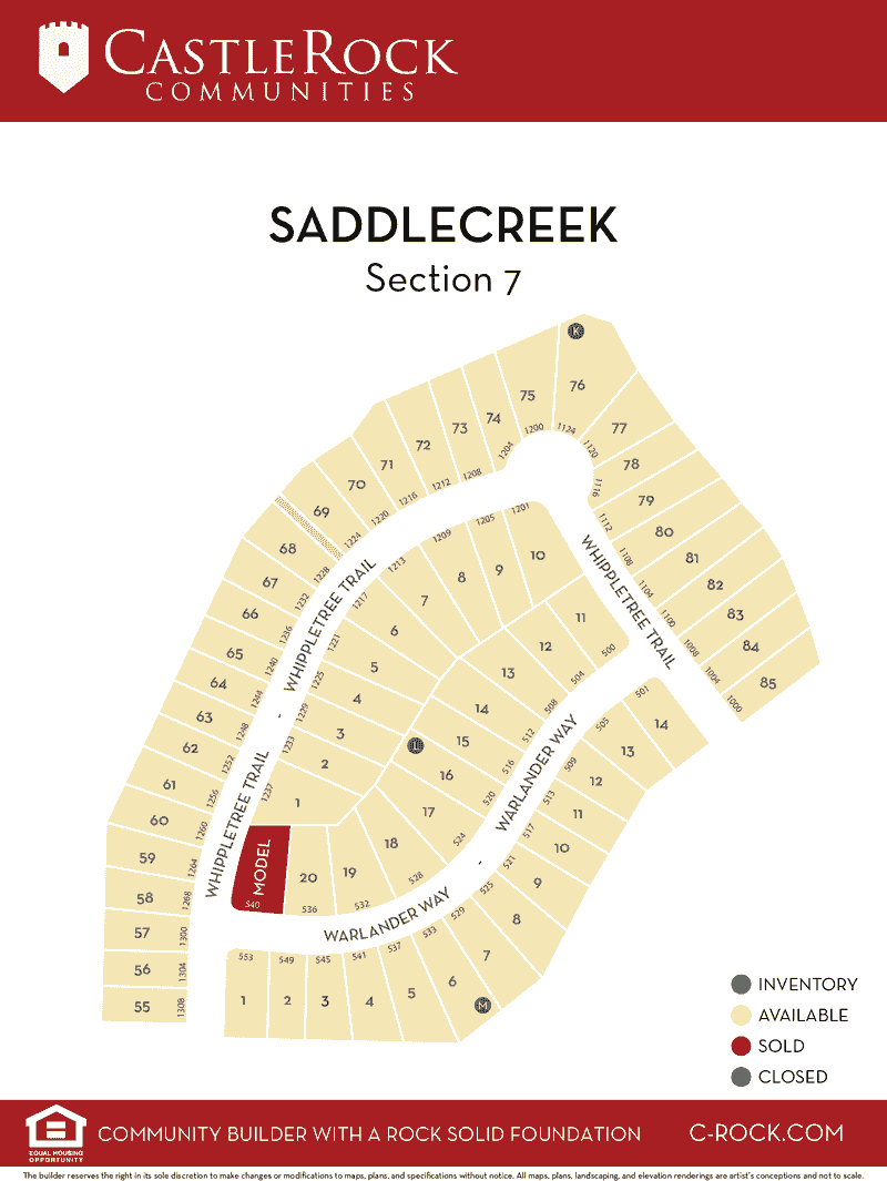 Saddlecreek Section 7 Lot Map