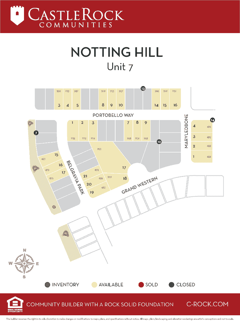 Notting Hill Unit 7 Lot Map