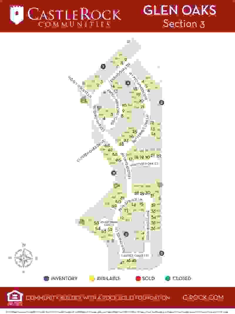 Glen Oaks Section 3 Lot Map