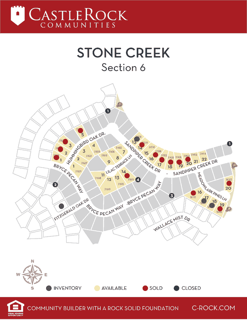 Stone Creek Ranch Section 6 Lot Map