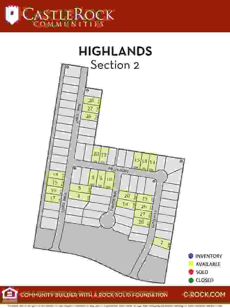 Highlands Section 2 Lot Map