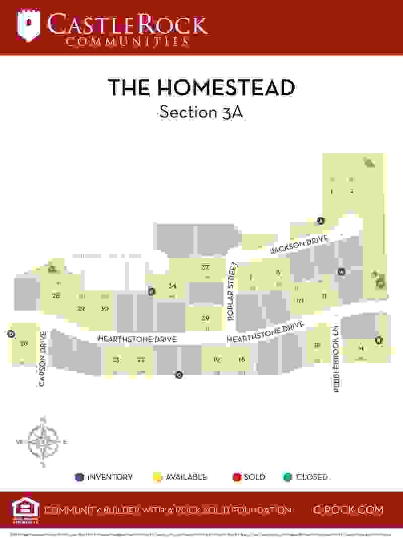 The Homestead Section 3A Lot Map