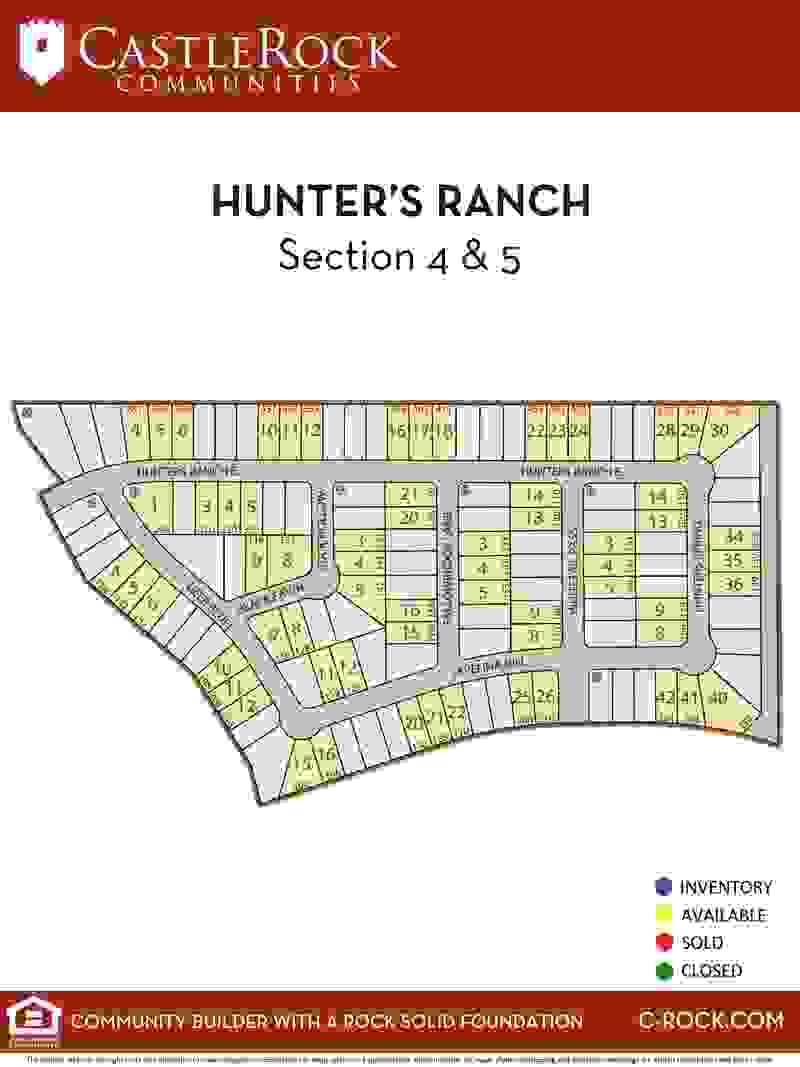 Hunter's Ranch Section 4 & 5 Lot Map