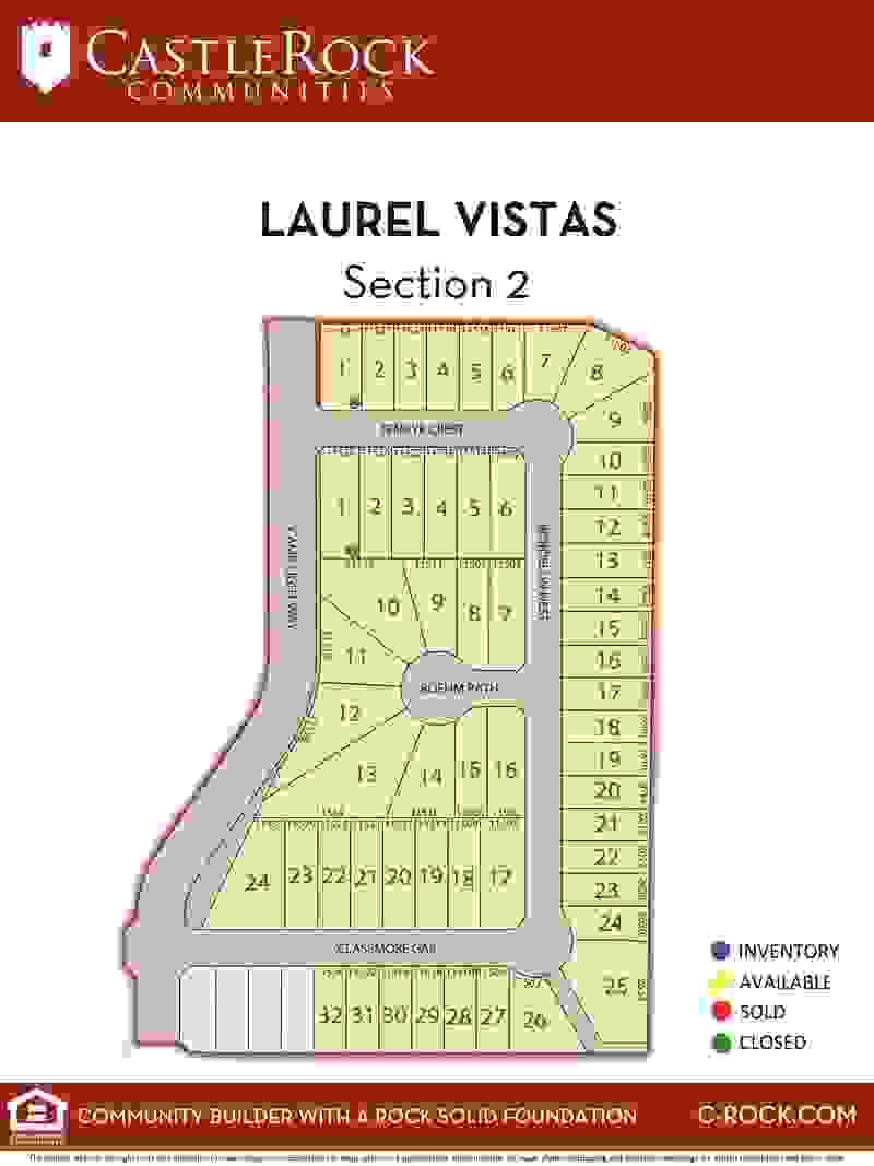 Laurel Vistas Section 2 Lot Map