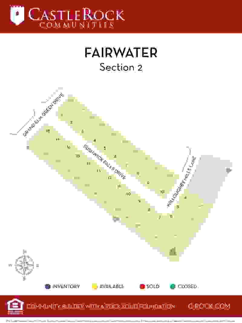 Fairwater Section 2 Lot Map