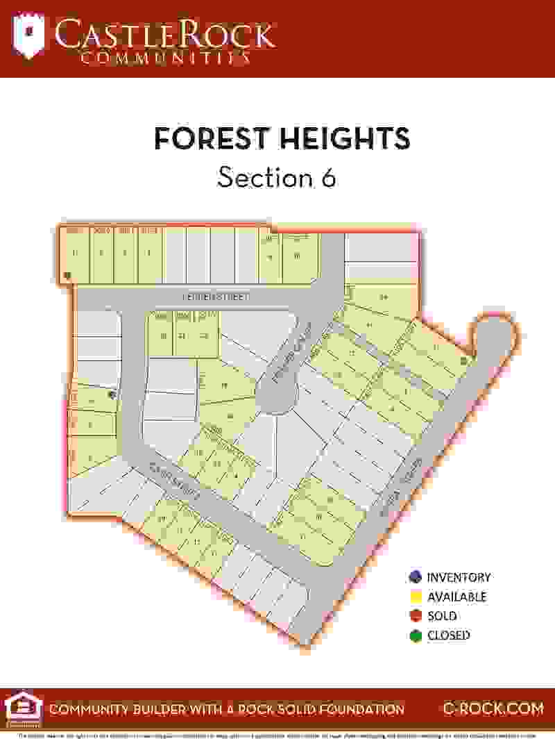 Forest Heights Section 6 Lot Map