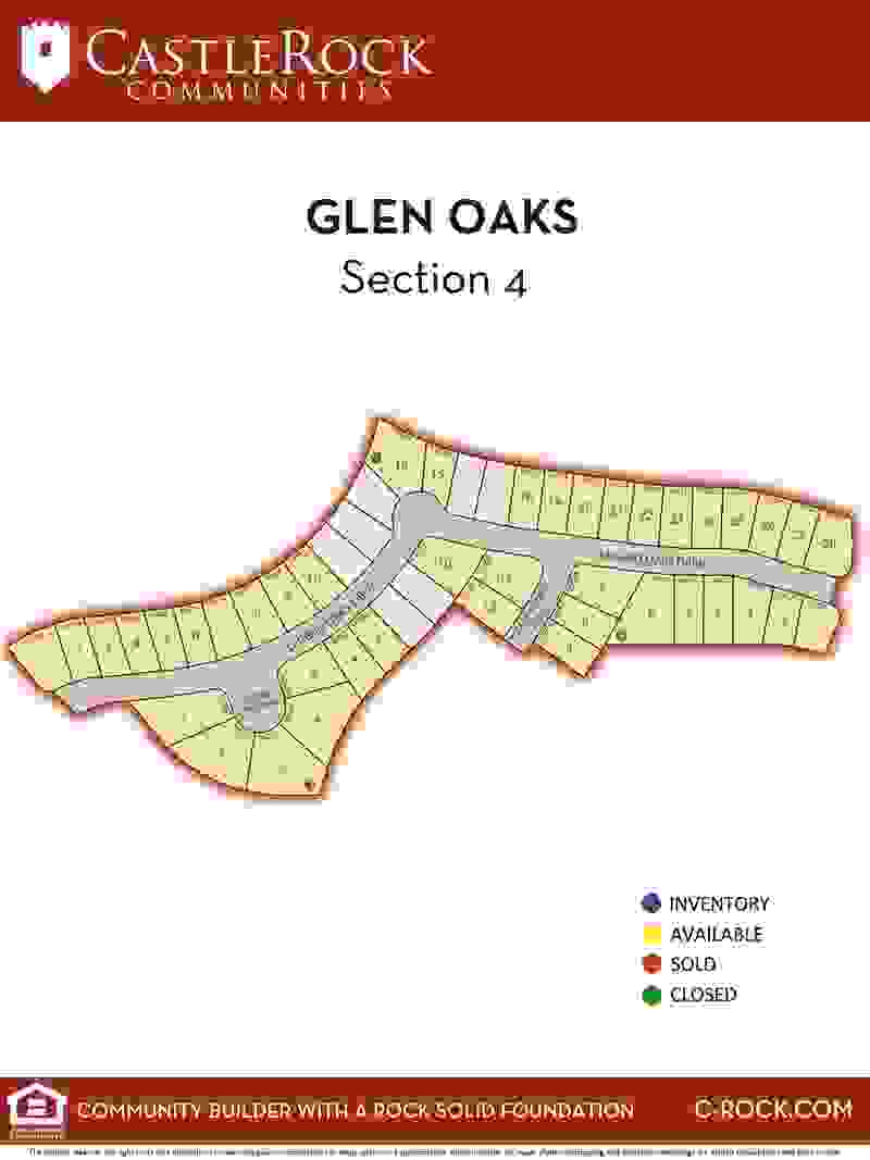 Glen Oaks Section 4 Lot Map