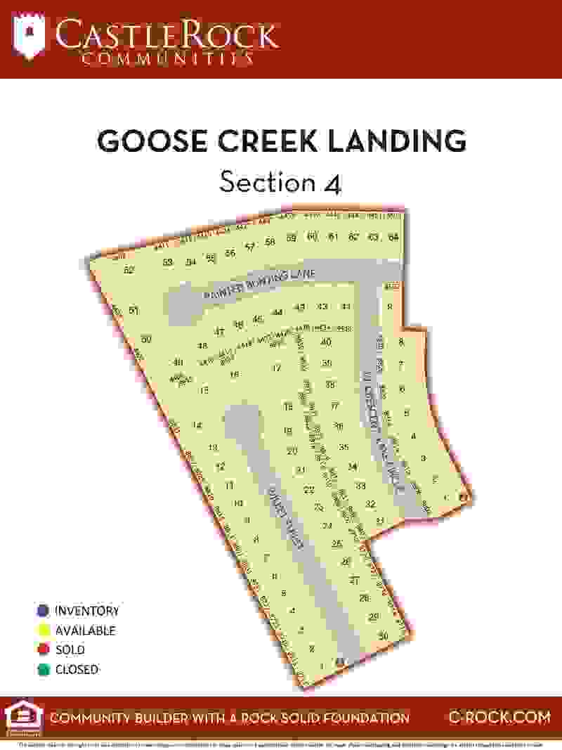 Goose Creek Landing Section 4 Lot Map