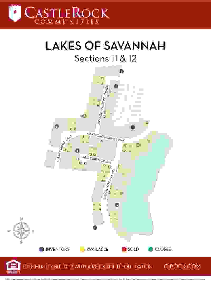 Lakes of Savannah Section 11 & 12 Lot Map