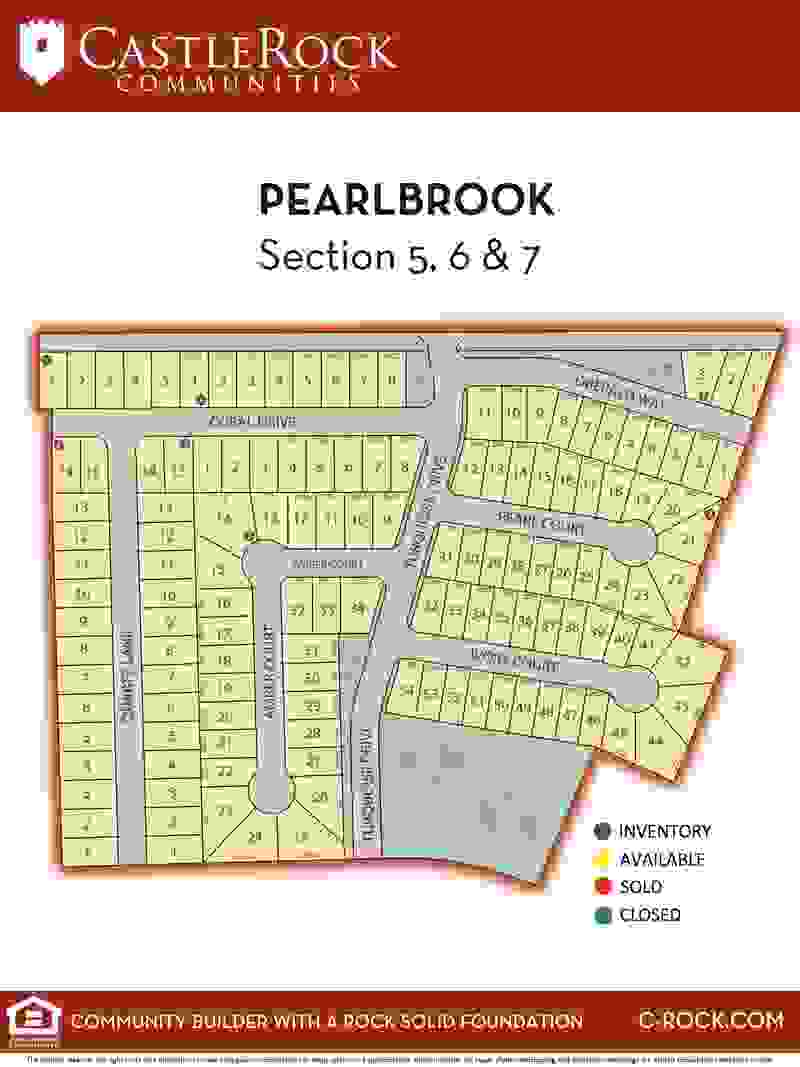 Pearlbrook Section 5, 6, & 7 Lot Map