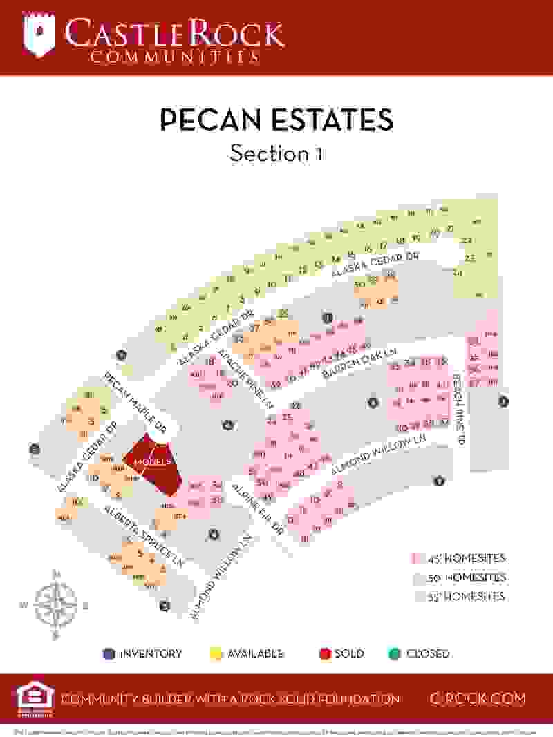 Pecan Estates Lot Map