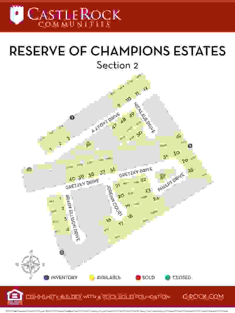 Reserve of Champions Estates Section 2 Lot Map