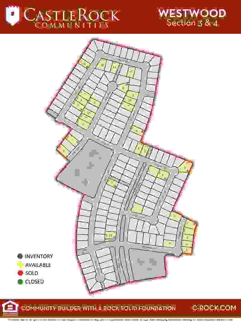 Westwood Section 3 & 4 Lot Map