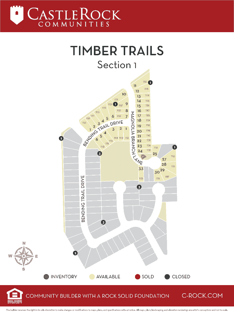 Timber Trails Section 1 Lot Map