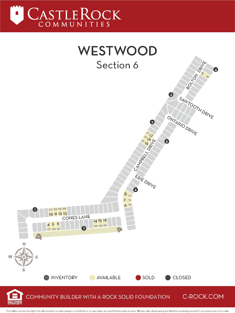 Westwood Section 6 Lot Map