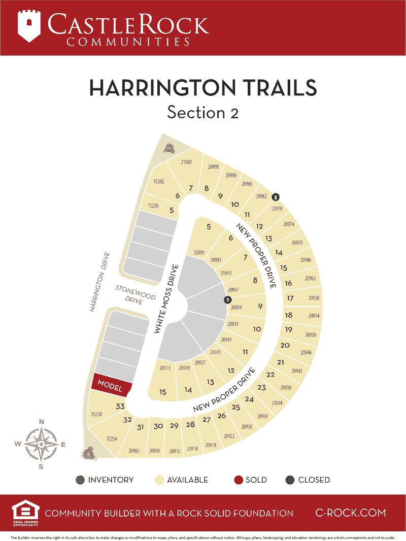 Harrington Trails Section 2 Lot Map