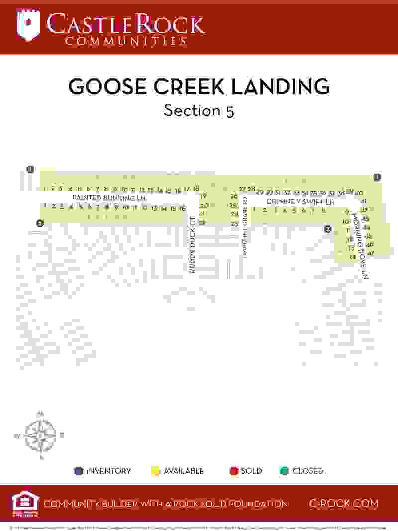 Goose Creek Landing Section 5 Lot Map