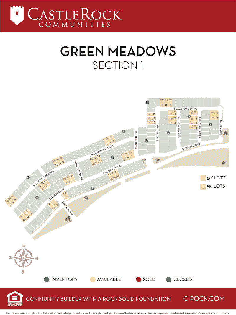 Green Meadows Section 1 Lot Map