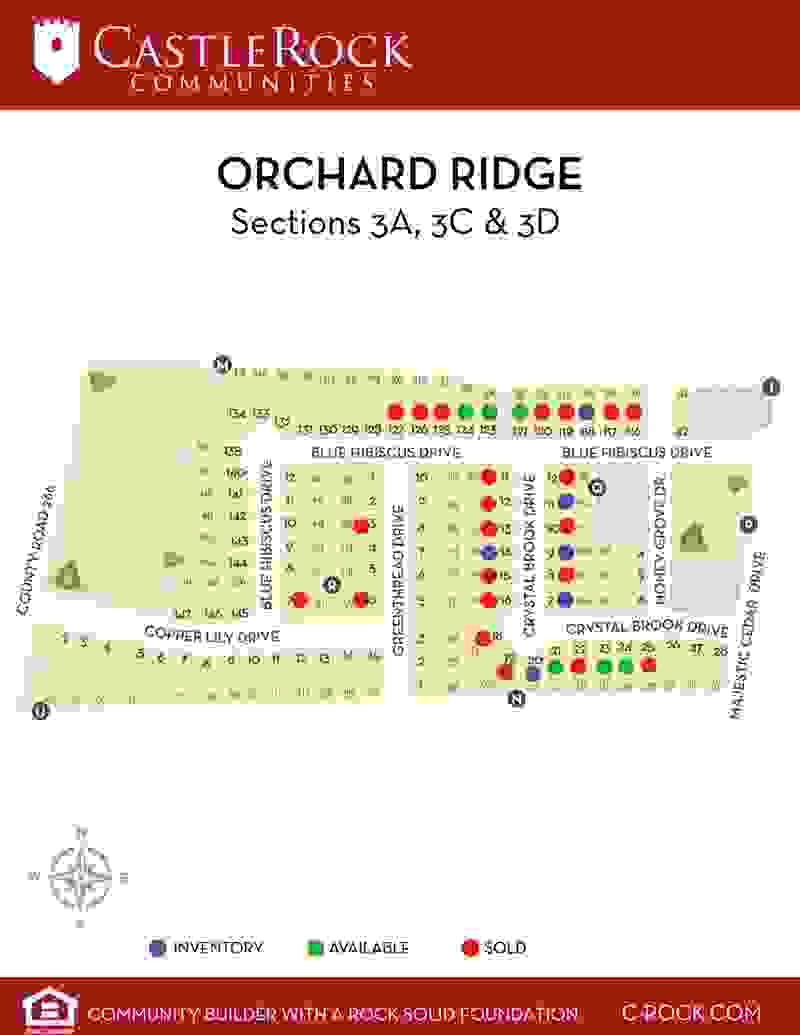 Orchard Ridge Section 3A, 3C &3D Lot Map