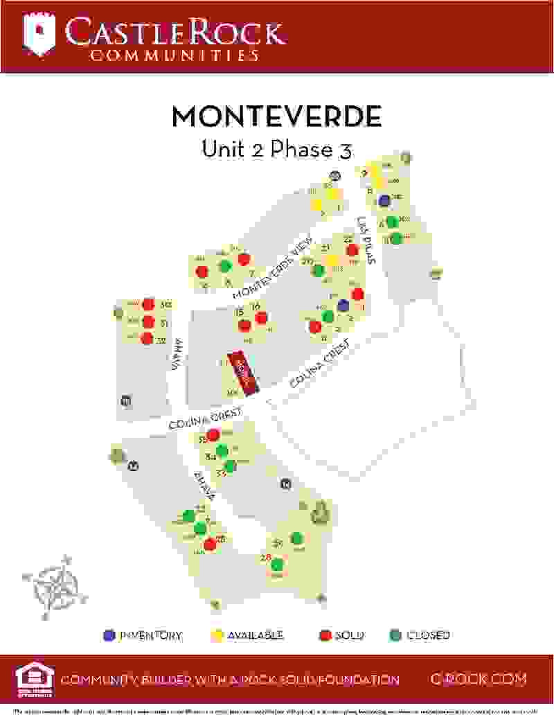 Monteverde Unit 2 Phase 3 Lot Map