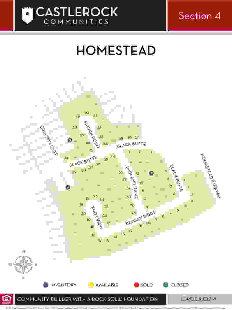 Homestead Section 4 Lot Map