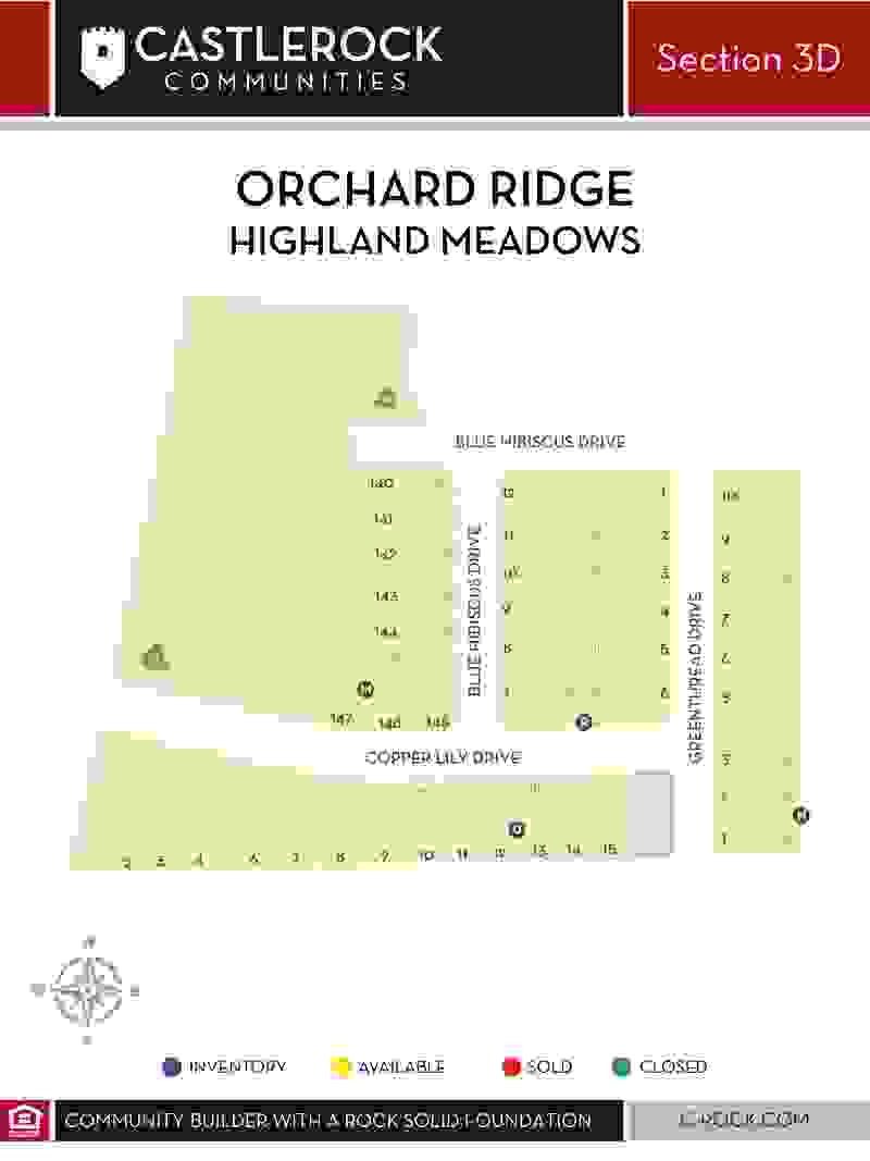 Orchard Ridge Section 3D Lot Map