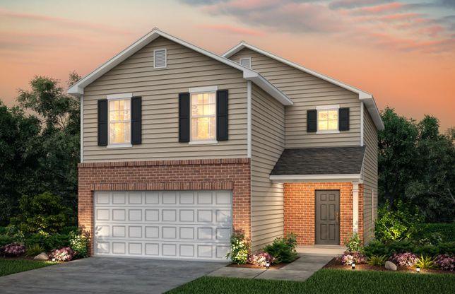 Douglas:Douglas Exterior 7 features brick, siding, covered front door and 2 car garage